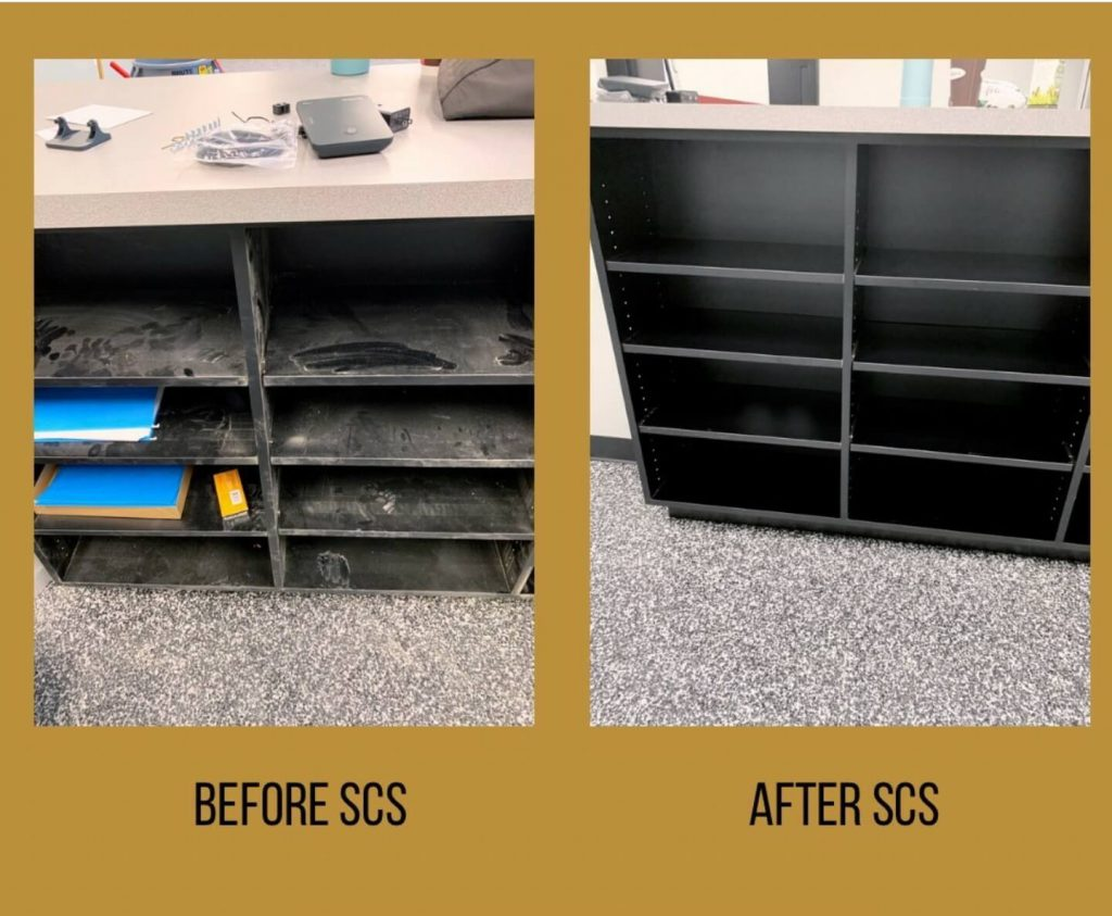 Construction cleaning shelves before and after