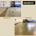 Close up of before and after for shop floor