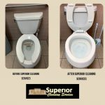 Picture of toilet before Superior Cleaning Services and after Superior Cleaning Services
