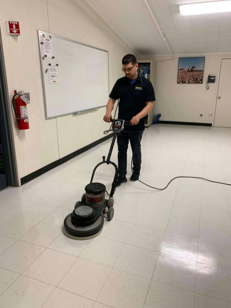 Buffing lunch room flooring